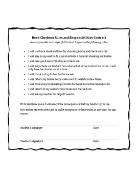 Book Check Out Rules and Responsibilities Contract