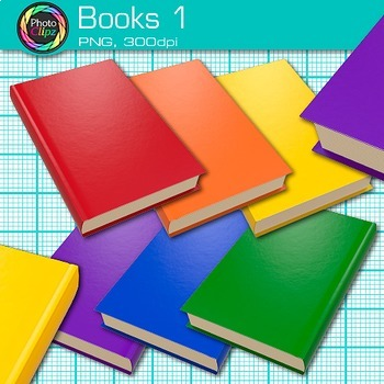 Reading Books Clip Art {Back to School Supplies Photo Graphics for Resources} 1