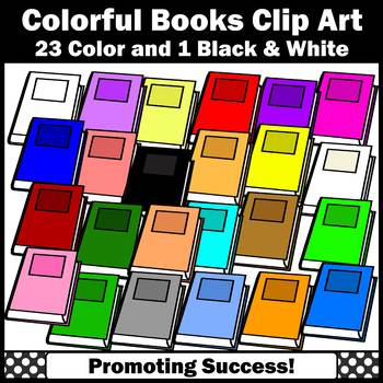 Book Clip Art, Library Reading Clipart Colorful Books Clipart, Rainbow Theme SPS