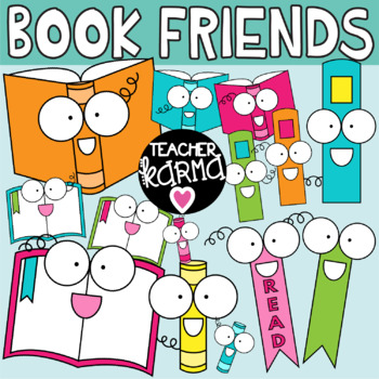 Happy book. Clipart reading graphics