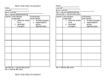 Book Club Accountability Form