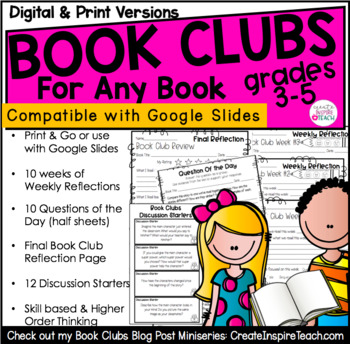 Book Club Activities   Reflections, Discussions + More   For Distance Learning
