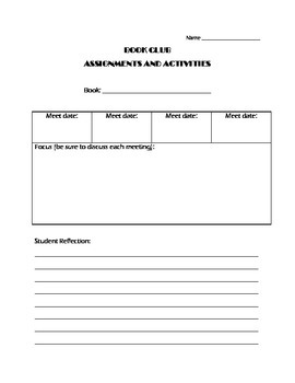 Book Club Assignments and Activities