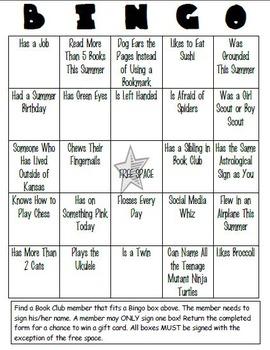 Book Club Bingo Mixer