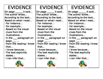 Book Club Book Marks- Includes Sentence Stems for Proving Evidence