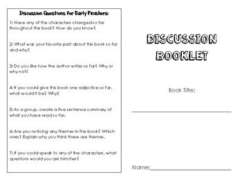 Book Club Booklet for ANY BOOK
