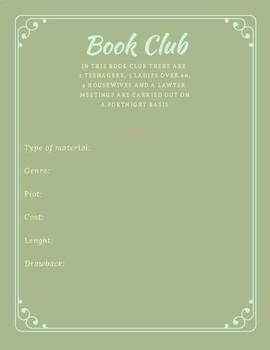 Book Club Compilation worksheet