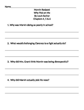 Book Club Comprehension Sheets For Marvin Redpost  Chapters 1, 2 and 3