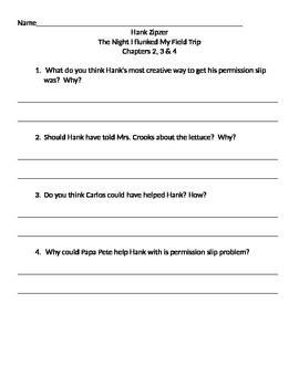 Book Club Comprehension Sheets For Hank Zipzer