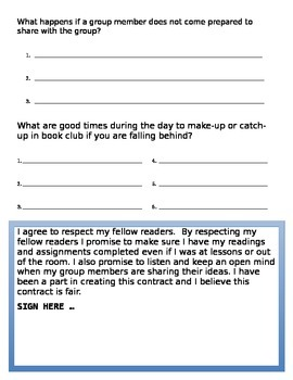 Book Club Contract (Meeting by Meeting)