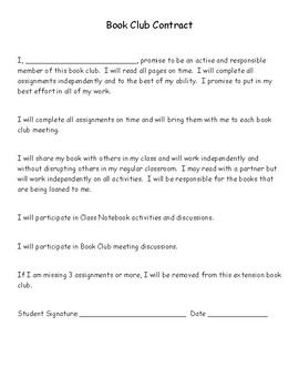 Book Club Contract and Choice Board