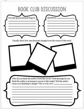 Book Club Discussion Literature Circle Worksheet