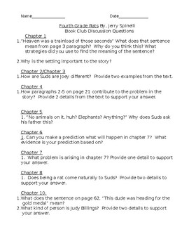 Book Club Discussion Questions (CCLS Aligned) --Fourth Grade Rats