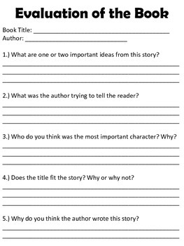Book Club Discussion Sheet and Evaluation of Book Sheet