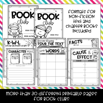 Book Club Graphic Organizers for any Nonfiction Text