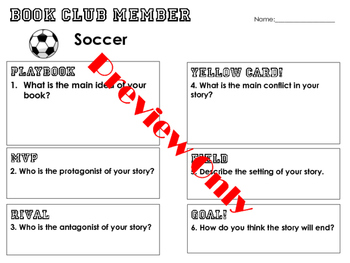 Book Club Group Discussion Sheets
