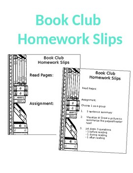 Book Club Homework Slips