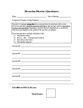Book Club (Literature Circle) Role Sheets