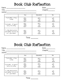 Book Club / Literature Circle Student and Teacher Sheets