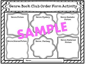 Book Club Order Form Activities (Genres, Story Elements & Connections)