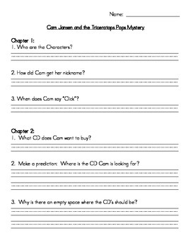 Book Club Comprehension Packet for Cam Jansen - The Triceratops Pops Mystery