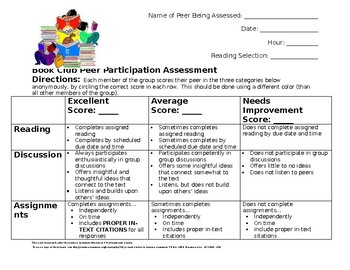 Book Club Peer Participation Assessment-ELA
