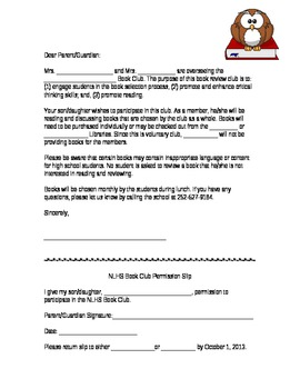 Book Club Permission Slip Template By Lunabell Tpt