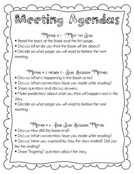 Book Club Planning Sheet, Agendas, and Question Sheet for Students