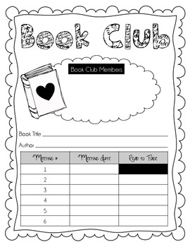 Book Club Planning Sheet, Agendas, and Question Sheet for