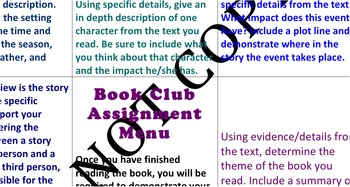 Book Club Project Assignment Choice Menu