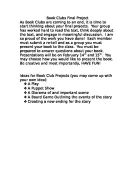 Book Club Project Ideas with checklist and rubric