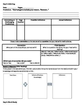 Book Club-Reader's Response Booklet-Sample