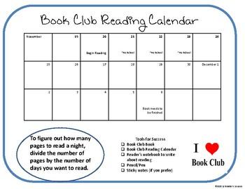 Book Club Reading Calendar