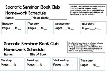 Book Club Reading Schedule