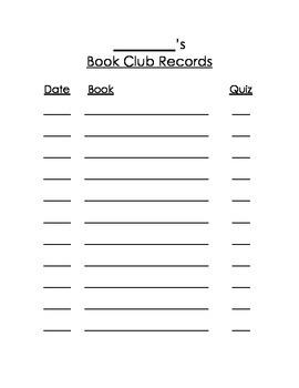 Book Club Recorder & Comprehension Exit Slips