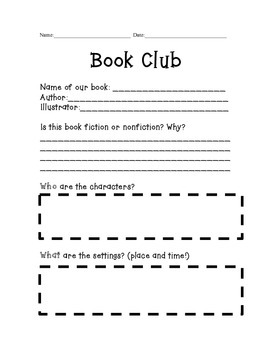 Book Club Response Sheet