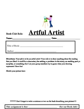 Book Club Role Sheet: Artful Artist