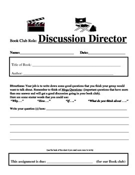 Book Club Role Sheet: Discussion Director