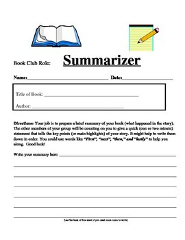 Book Club Role Sheet: Summarizer