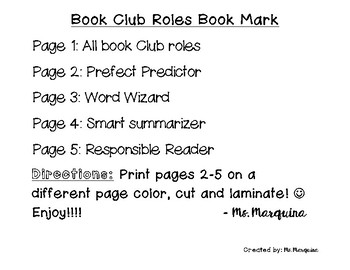 Book Club Roles Book Mark