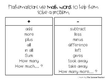 "'Math words"" for Problem Solving (Grades 1-2)"