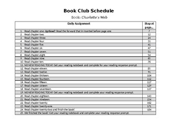 Book Club Schedule for Charlotte's Web