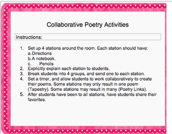 Collaborative Poetry Station Activities