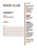 Book Club Sign-Up Sheet