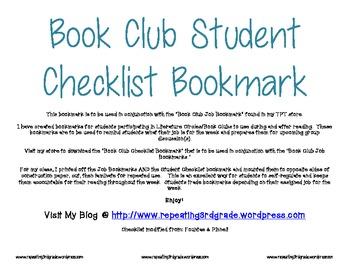 Book Club Student Checklist Bookmark