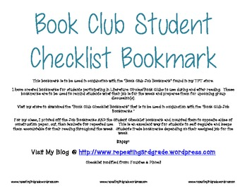 Book Club Student Checklist Bookmark