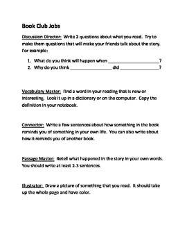 Book Club job description for students