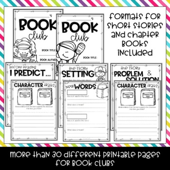 Book Club Graphic Organizers for Any Fiction Text
