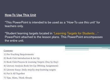 """Book Clubs """"How to Use this Unit"""" and Student Learning Targets PowerPoints"""