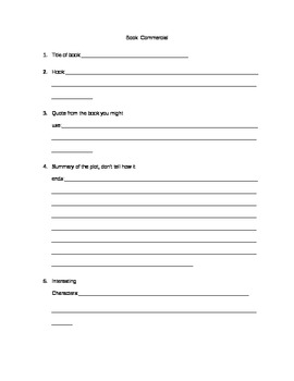 Book Commercial Worksheet